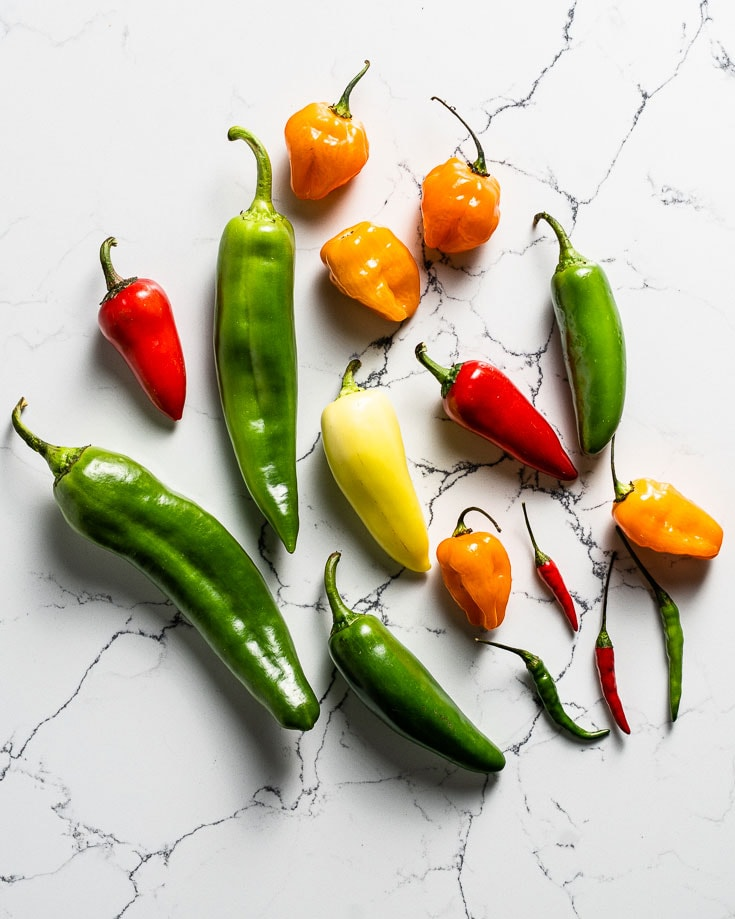 group of variety of chili peppers