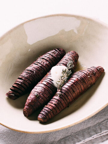 Hasselback Sweet Potatoes | SaltPepperSkillet.com