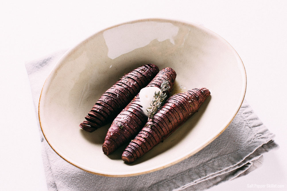 Hasselback Sweet Potatoes | SaltPepperSkillet.com
