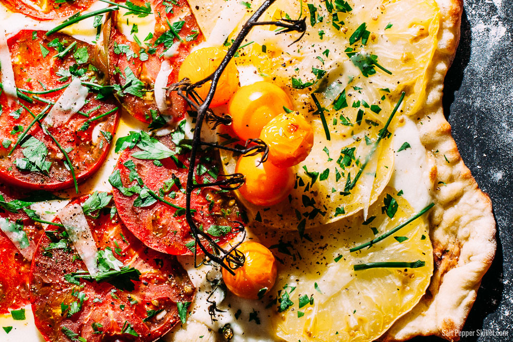 Grilled Heirloom Tomato Pizza