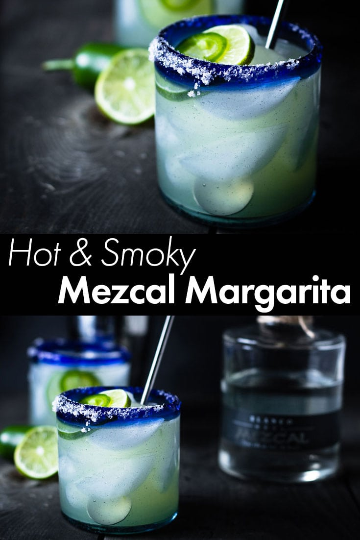 A super delicious and refreshing hot & smoky Mezcal Margarita recipe with jalapeños to give it a kick and the smokiness comes from the Mezcal. #margarita #mezcal #cocktail #summer #drinkrecipe #saltpepperskillet