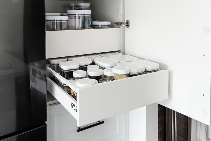 ikea cabinet pantry with oxo containers