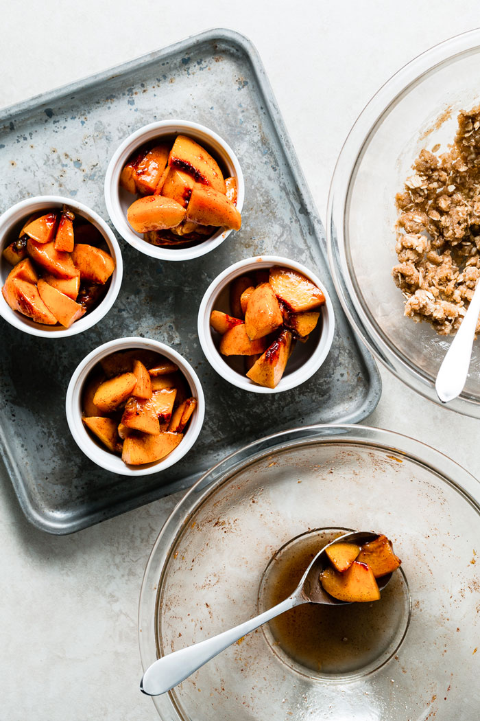 individual peach crumbles assembly