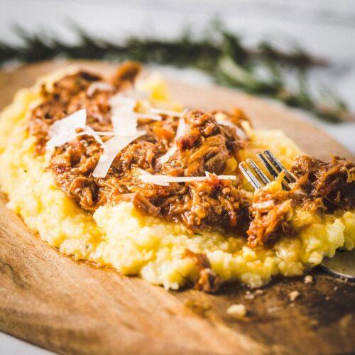instant pot pork ragu over creamy polenta 1