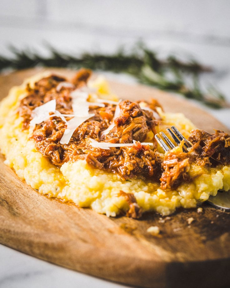 instant pot pork ragu over creamy polenta 1