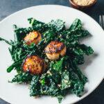 Kale Salad with Miso Vinaigrette and Scallops