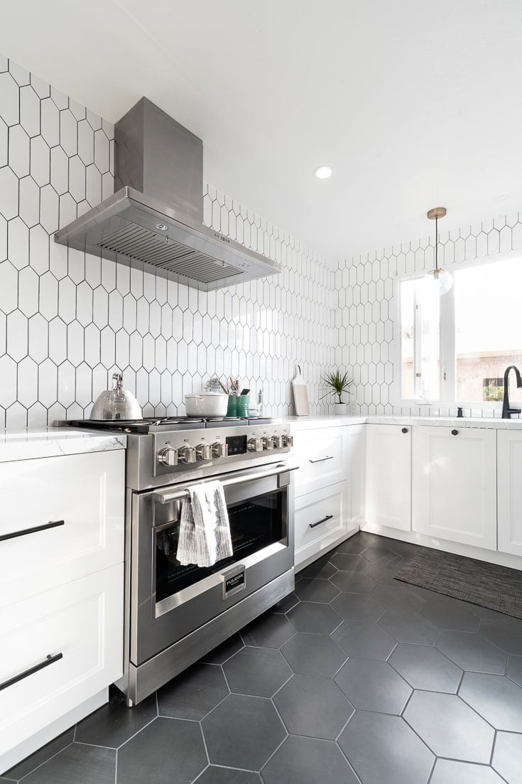 kitchen reveal with hex tiles