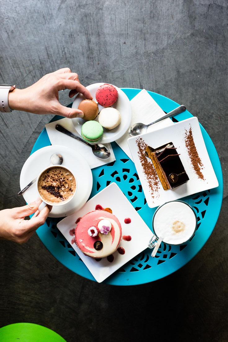 le parfait paris dessert and coffee spread overhead