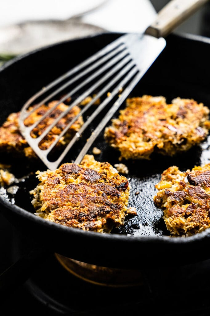 leftover stuffing cakes frying in skillet