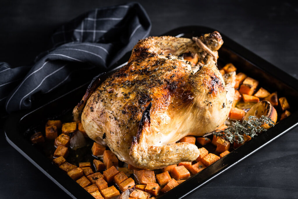 lemon-thyme roast chicken side view