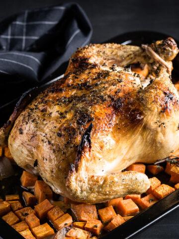 lemon-thyme roast chicken side view