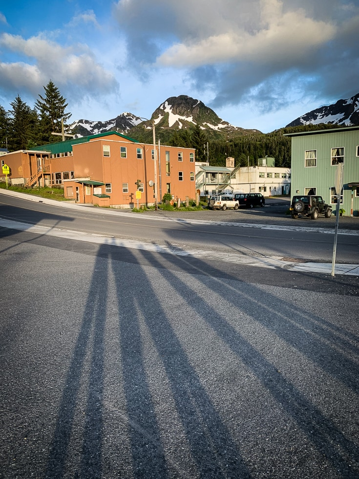 long shadows at 1030pm in cordova alaska