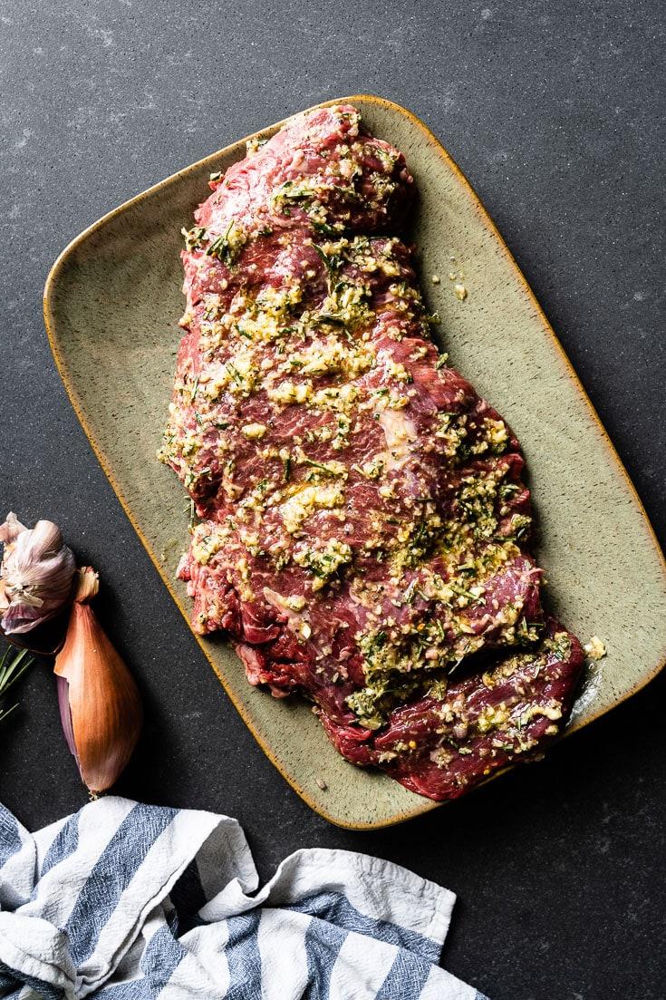 marinating flap steak with garlic rosemary marinade