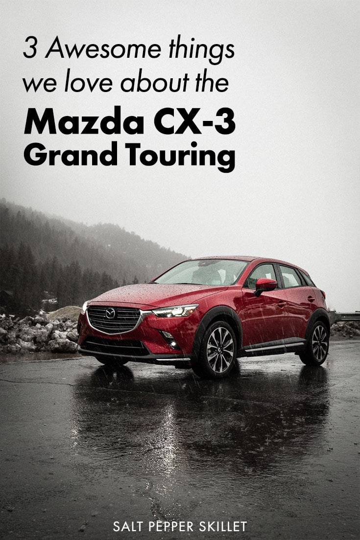 3 Awesome things to love about the Mazda CX-3 Grand Touring SUV. Technology, Styling and the drive make this crossover one to check out. #mazda #carreview