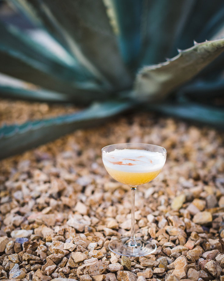 mezcal sour cocktail outdoors 2