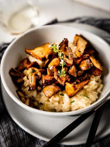 mushroom risotto in bowl
