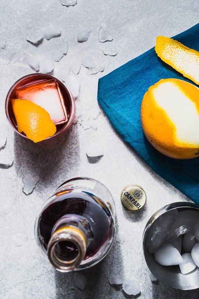 negroni cocktail recipe overhead