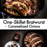 One-Skillet Brats with caramelized Onions