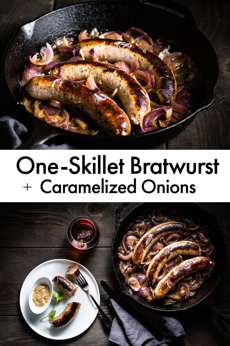 One-Skillet Bratwurst + Caramelized Onions. This is the best, simplest and most delicious way to cook bratwurst sausage. It takes just one-skillet and 20 minutes. Fabulous for a weeknight meal or a party. #bratwurst #sausage #recipe #oneskillet #easyrecipe #saltpepperskillet