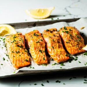 oven baked salmon on sheet pan horizontal 1