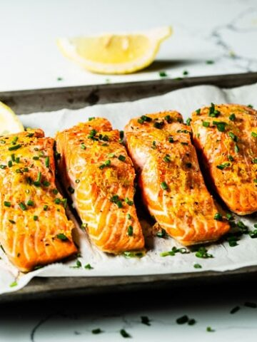 oven baked salmon on sheet pan horizontal 1