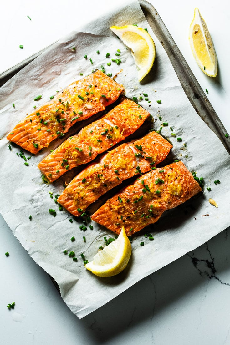 oven baked salmon on sheet pan vertical 3