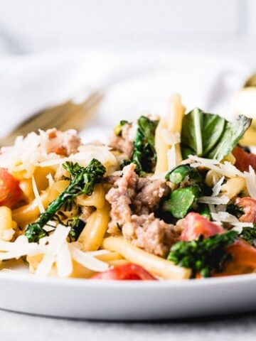 pasta with sausage broccoli and peppers horizontal head on