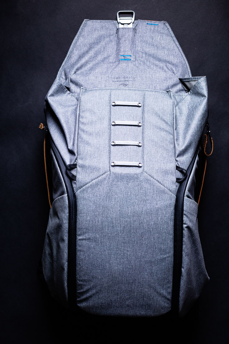 peak design everyday backpack top open front view