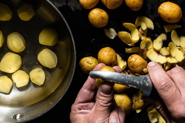 peeling marble potatoes