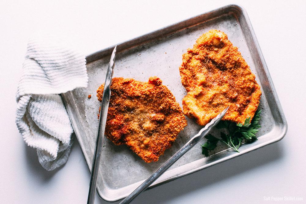 Pork Schnitzel + Mushroom Sauce | SaltPepperSkillet.com