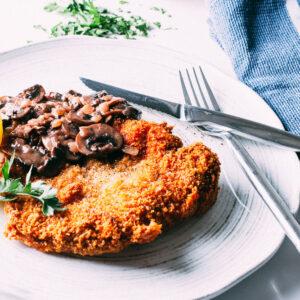 Pork Schnitzel + Mushroom Sauce   SaltPepperSkillet.com