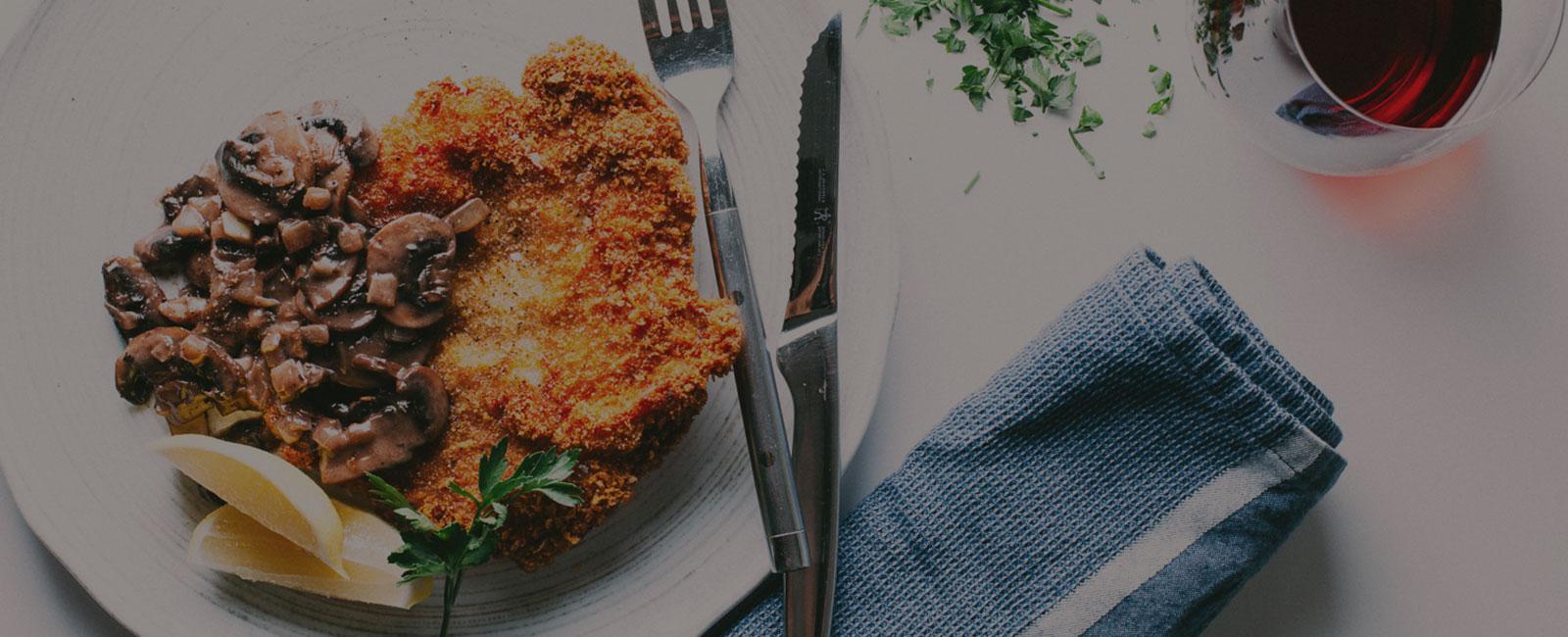 Pork Schnitzel + Mushroom Sauce