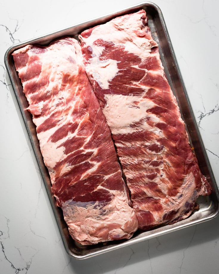 pork spare ribs on sheet pan