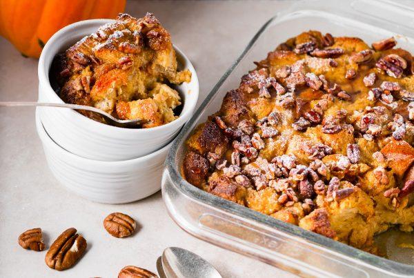 pumpkin pecan bread pudding vertical