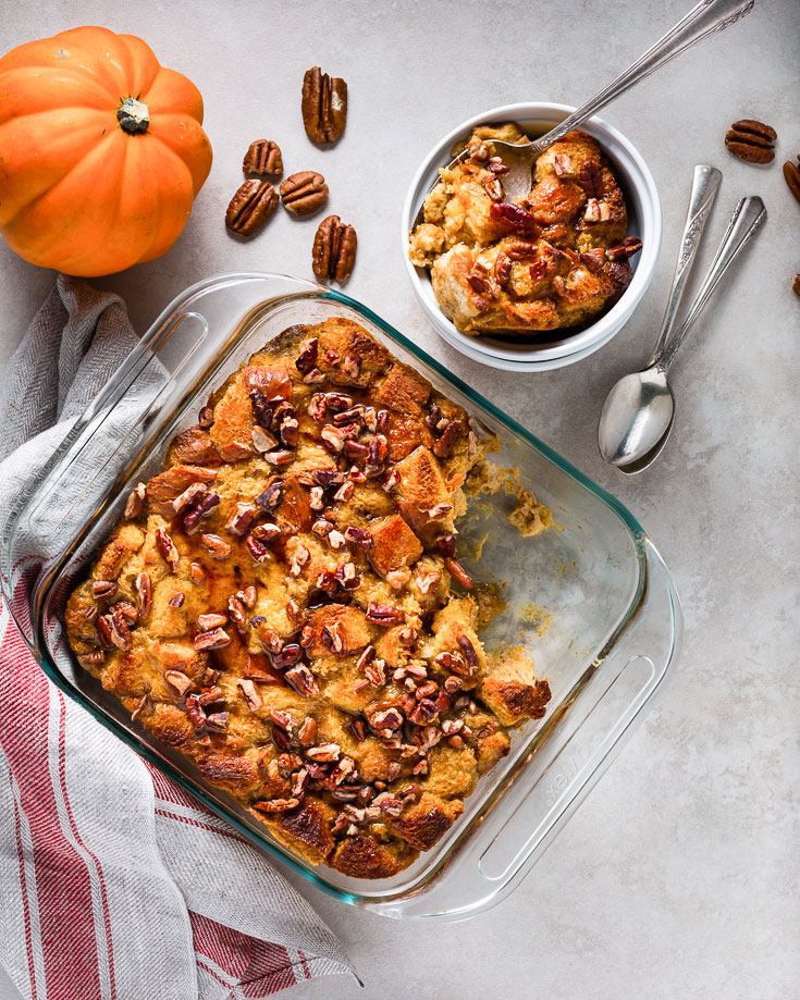 pumpkin pecan bread pudding vertical
