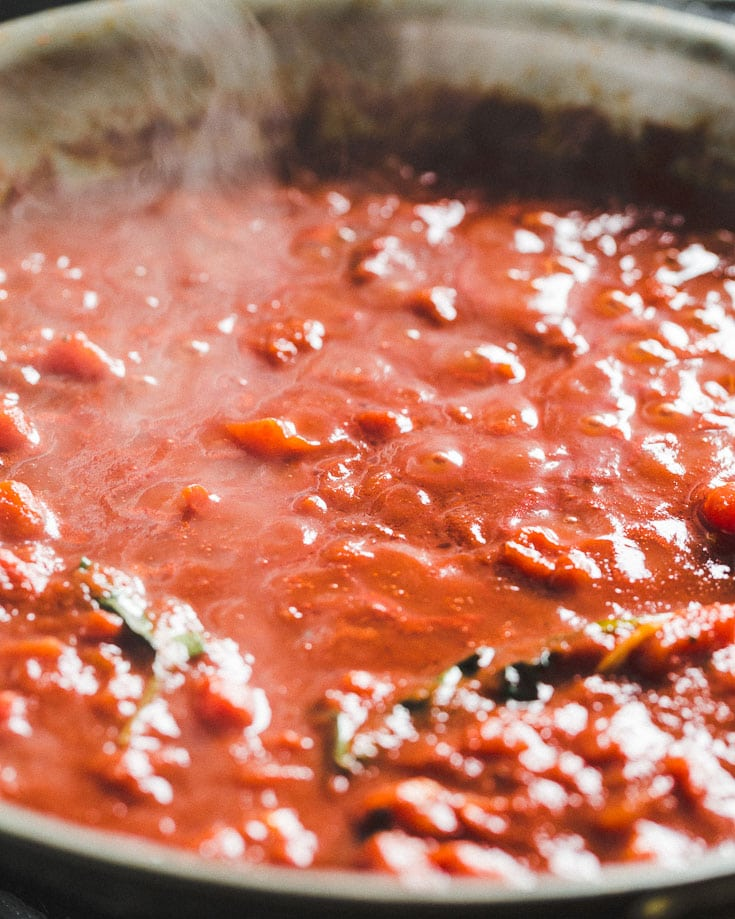 quick marinara sauce in skillet