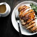 herb brined and roasted turkey breast