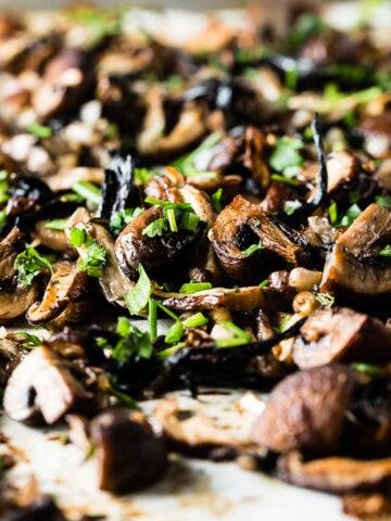 roasted mushrooms close up horizontal