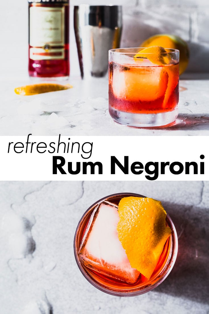 A refreshing riff on the Negroni cocktail that brings a little bit of the Caribbean flare to the classic. We're subbing in dark rum for the gin, which makes it even more delicious. You be the judge and try it for yourself. #negroni #cocktail #rumnegroni #saltpepperskillet