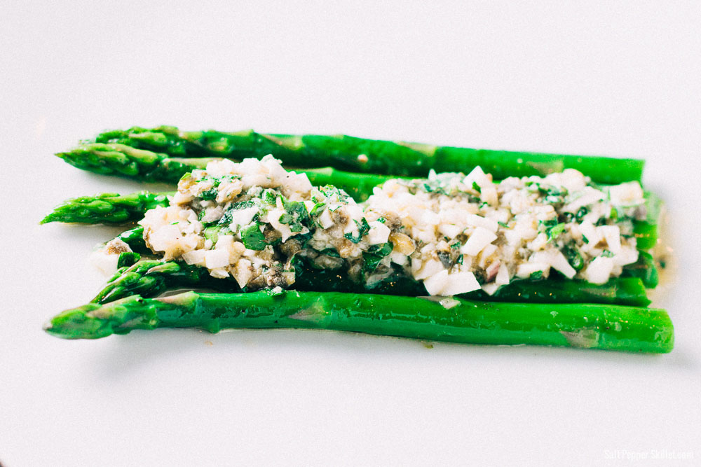 Asparagus + Sauce Gribiche Recipe | SaltPepperSkillet.com