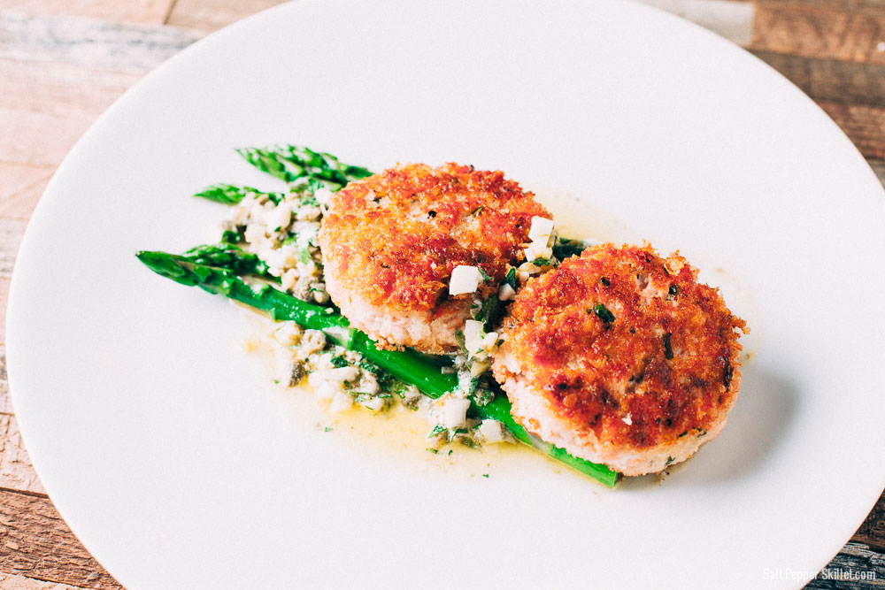 Salmon Cakes + Sauce Gribiche | SaltPepperSkillet.com