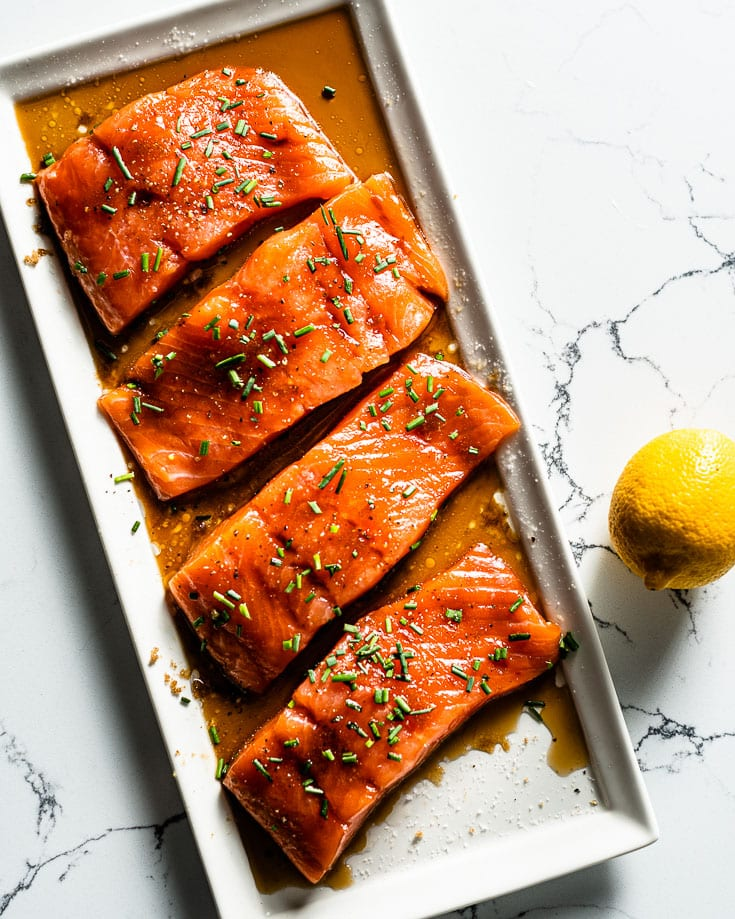 salmon marinating for cedar plank