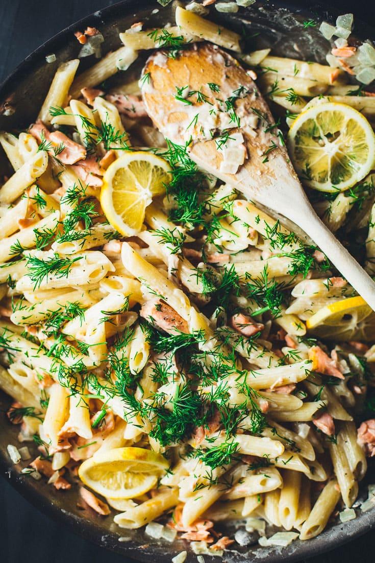 salmon pasta with lemon vodka sauce close up