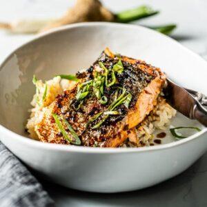 salmon teriyaki close up in a bowl
