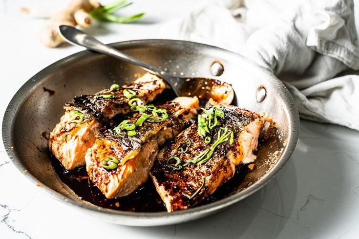 salmon teriyaki in a skillet