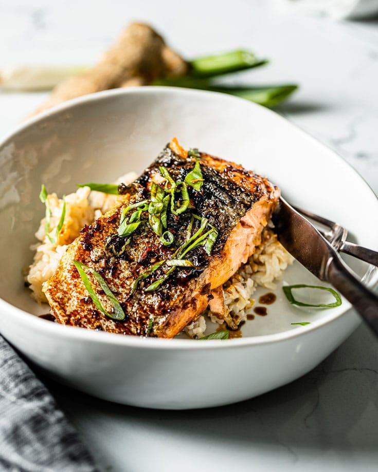 salmon teriyaki in rice bowl