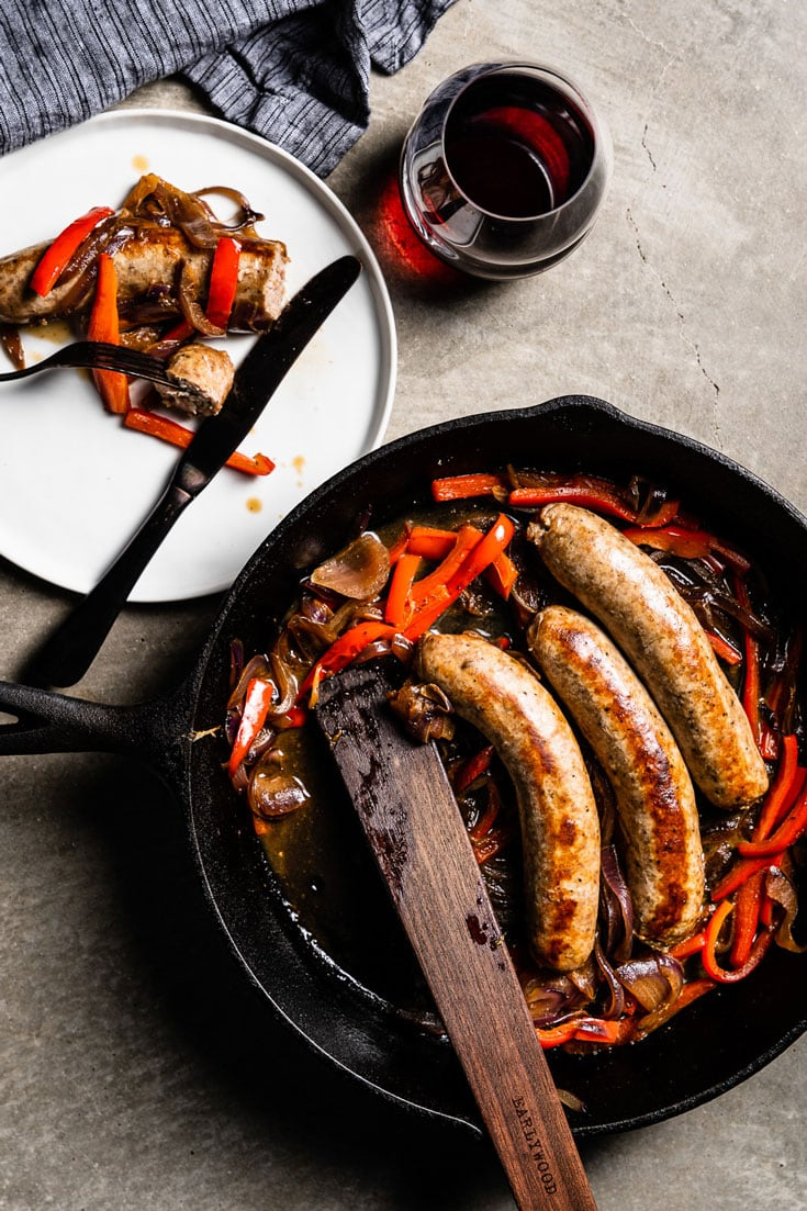 sausage and peppers flatlay overhead 1