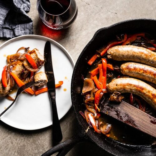 sausage and peppers on plate overhead 2