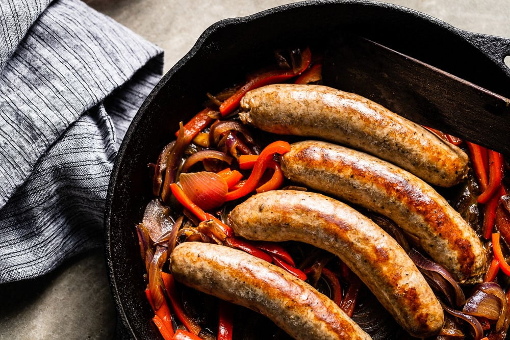 sausage and peppers overhead horizontal