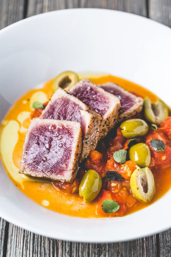 seared tuna with quick tomato and olive sauce vertical 2